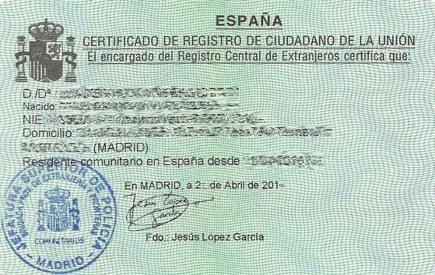 nie in barcelona for EU citizens